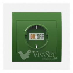 Розетка электрическая с заземлением с крышкой 16A 250V~ BJC Iris зеленый 18524 - 18713-VM
