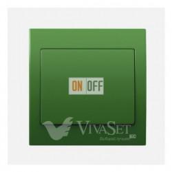 Переключатель  1 клавишный (с 2-х мест) 16А 250V~ BJC Iris зеленый 18506 - 18705-VM