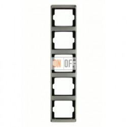Рамка пятерная, для вертикального монтажа Berker Arsys, нержавеющая сталь 13540004