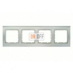Рамка четверная, для горизонтального/вертикального монтажа Berker B.3 алюминий-белый 10143904