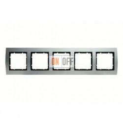 Рамка пятерная, для гориз./вертик. монтажа Berker B.3 алюминий-антрацит 10153004