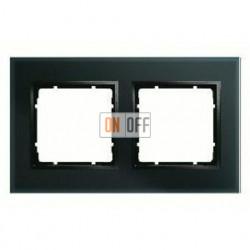 Рамка двойная, для гориз./вертик. монтажа Berker B.7 Glass черное стекло 10126616