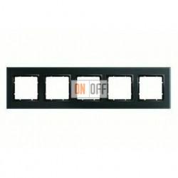 Рамка пятерная, для гориз./вертик. монтажа Berker B.7 Glass черное стекло 10156616
