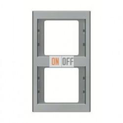 Рамка двойная, для вертикального монтажа Berker K.5  нержавеющая сталь 13237004