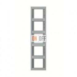 Рамка пятерная, для вертикального монтажа Berker K.5  нержавеющая сталь 13537004