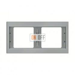 Рамка двойная, для горизонтального монтажа Berker K.5  нержавеющая сталь 13637004