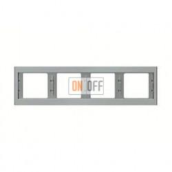 Рамка четверная, для горизонтального монтажа Berker K.5  нержавеющая сталь 13837004