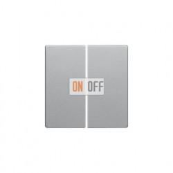 Выключатель двухклавишный, проходной (вкл/выкл с 2-х мест) 10 А / 250 В~ алюминий с эффектом бархата 16236084 - 303808