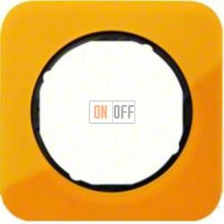 Рамка одинарная Berker R.1 , акрил оранжевый черная вкладка 10112334