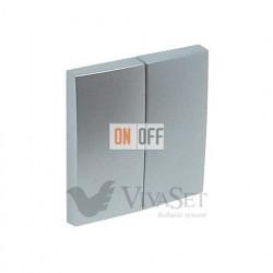 Переключатель  2 клавишный (с 2-х мест) 10А 250V~ Efapel logus 90 алюминий 21101 - 90611 TAL