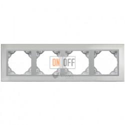 Рамка четверная  Efapel logus 90 нержавеющая сталь/алюминий 90940 TIA