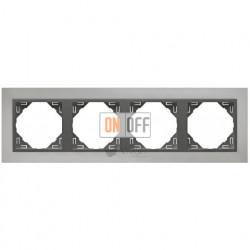 Рамка четверная Efapel logus 90 хром/серый 90940 TRS