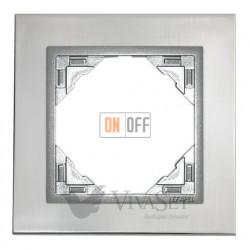 Рамка одинарная Efapel logus 90 нержавеющая сталь/алюминий 90910 TIA