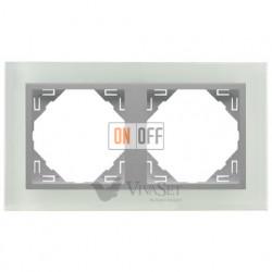 Рамка двойная  Efapel logus 90 стекло алюминий 90920 TCA