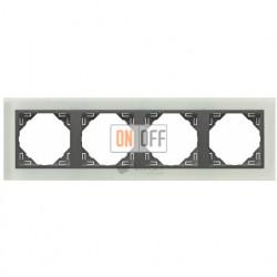 Рамка четверная Efapel logus 90 стекло серый 90940 TCS