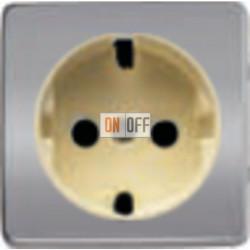 Розетка 2к+3 с винтовым подключением 10-16А 250 V~ (блестящий хром/бежевый) FD16523 - FD04314CB-A - FD16-BAST