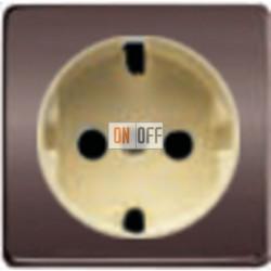 Розетка 2к+3 с винтовым подключением 10-16А 250 V~ (графит-бежевый) FD16523 - FD04314GR-A - FD16-BAST