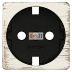 Розетка с заземлением, винтовой монтаж, 10-16А 250 V~ (белый декапо/черный) FD16523 - FD04314BD-M - FD16-BAST