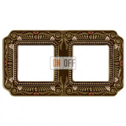 Рамка двойная Fede Palace, светлая бронза с кристаллами FD01362PBCL