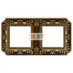 Рамка двойная Fede Palace, светлая бронза с кристаллами FD01352PBCL