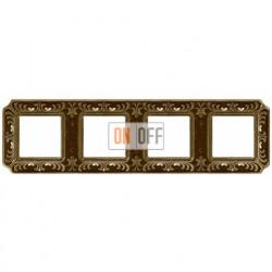 Рамка четверная Fede Palace, светлая бронза с кристаллами FD01354PBCL