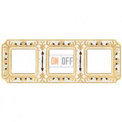 Рамка тройная Fede Palace, золотая патина с кристаллами FD01353OPCL