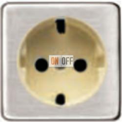 Розетка 2к+3 с винтовым подключением 10-16А 250 V~ (никель/бежевый) FD16523 - FD04314NS-A - FD16-BAST