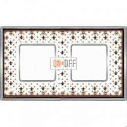 Рамка Vintage Porcelain 2 поста (Brown Lys - блестящий хром) FD01342MACB