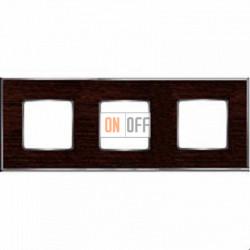 Рамка Vintage Wood 3 поста (венге - блестящий хром) FD01313WCB
