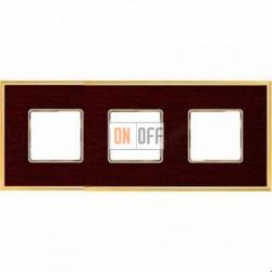 Рамка Vintage Wood 3 поста (венге - блестящее золото) FD01313WOB