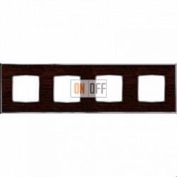 Рамка Vintage Wood 4 поста (венге - блестящий хром) FD01314WCB