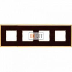 Рамка Vintage Wood 4 поста (венге - блестящее золото) FD01314WOB