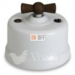Выключатель поворотный перекрестный (c 3 мест) 10А 250В~  Fontini Garby, белый фарфор/ручка старое дерево 30304212