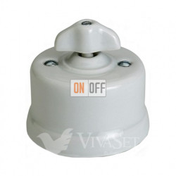 Выключатель поворотный для жалюзи 10А 250В~, Fontini Garby белый фарфор/ручка ретро 30342302