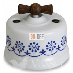 Выключатель поворотный перекрестный (c 3 мест) 10А 250В~ Fontini Garby, белый фарфор/синий декор/ручка старое дерево 30304232