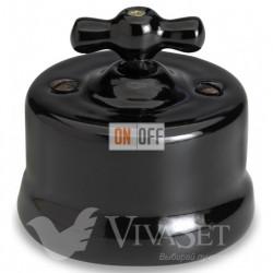 Выключатель поворотный перекрестный (c 3 мест) 10А 250В~ Fontini Garby, черный фарфор 30304272