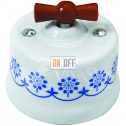 Выключатель поворотный 10А 250В~ Fontini Garby, белый фарфор/синий декор/ручка дерево мед 30306122