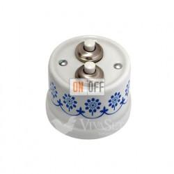 Выключатель-кнопка  на два направления 10А 250В~, Fontini Garbyбелый фарфор/синий декор 30343112