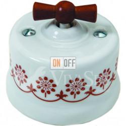 Выключатель поворотный перекрестный (c 3 мест) 10А 250В~ Fontini Garby, белый фарфор/коричневый декор/ручка дерево мед 30304142