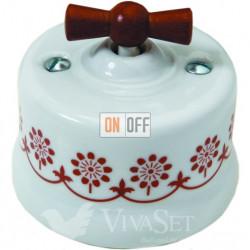 Выключатель поворотный для жалюзи 10А 250В~, Fontini Garby белый фарфор/коричневый декор/ручка дерево мед 30342142