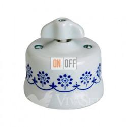 Выключатель поворотный для жалюзи 10А 250В~, Fontini Garby белый фарфор/синий декор/ретро ручка 30342312