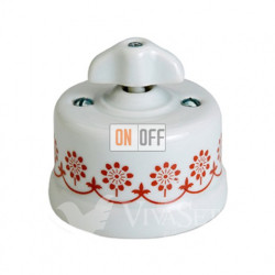 Выключатель поворотный на два направления (сх.5) 10А 250В~ Fontini Garby, белый фарфор/коричневый декор/ретро ручка 30344322
