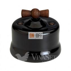 Выключатель поворотный для жалюзи 10А 250В~, Fontini Garby черный фарфор/ручка старое дерево 30342292