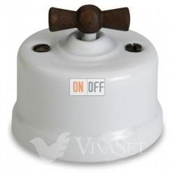 Выключатель поворотный для жалюзи 10А 250В~, Fontini Garby белый фарфор/ручка старое дерево 30342212