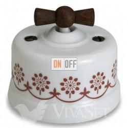 Выключатель поворотный перекрестный (c 3 мест) 10А 250В~ Fontini Garby, белый фарфор/коричневый декор/ручка старое дерево 30304242