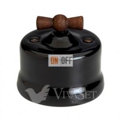 Выключатель поворотный на два направления (сх.5) 10А 250В~ Fontini Garby, черный фарфор/ручка старое дерево 30344292