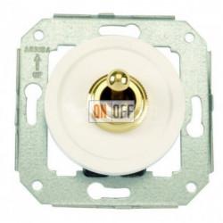 Перекрестный тумблерный выключатель 10А 250В~, белый с золотом 65304302
