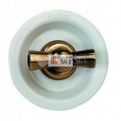 Выключатель 2 клавишный поворотный с 2-х мест, 10А 250В~, белый с бронзой 35302592
