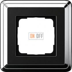 Рамка на 1 пост, Gira Classix, хром-черный 0211642