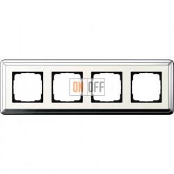 Рамка на 4 поста, вертикальная/горизонтальная, Gira Classix, хром-кремовый 0214643